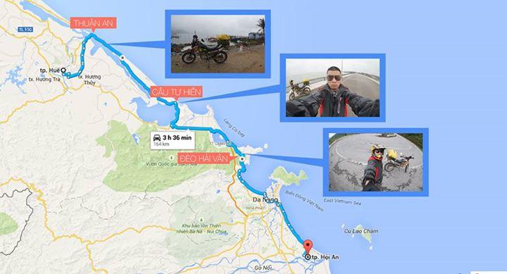Đường từ Huế - Hội An qua cửa biển Tư Hiền